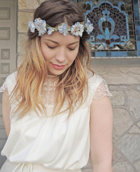 coroa flores azul