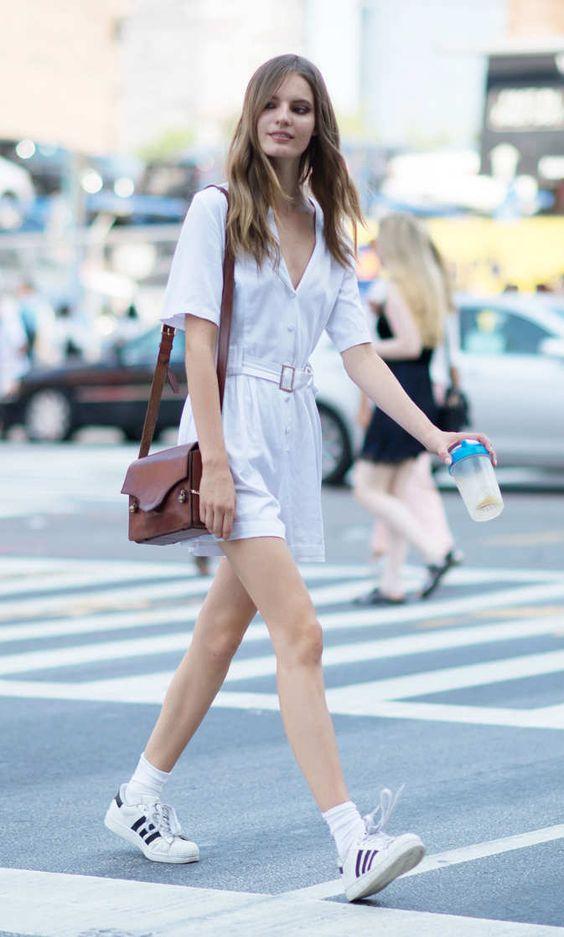 adidas star vestido branco