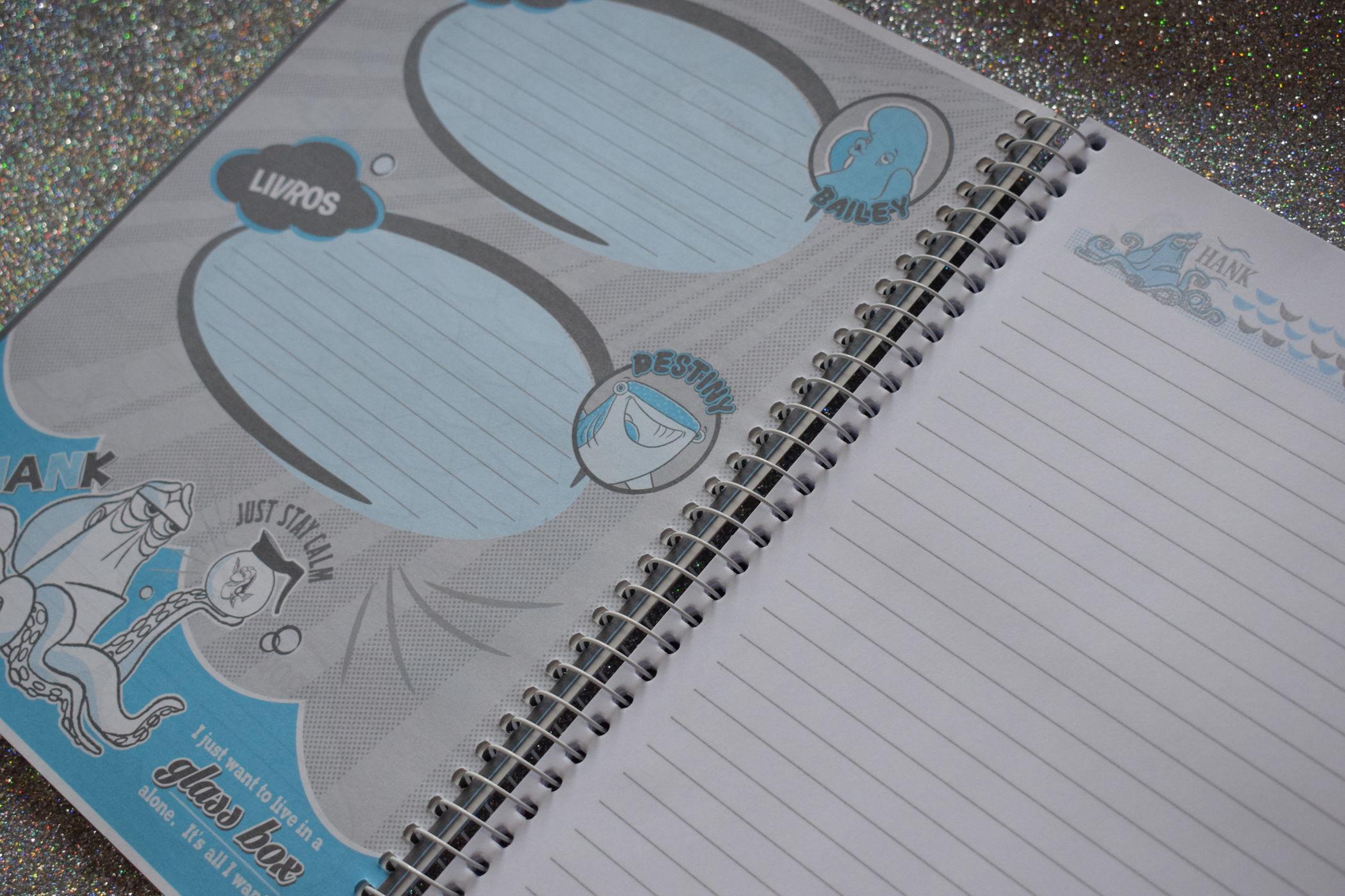 caderno procurando dory